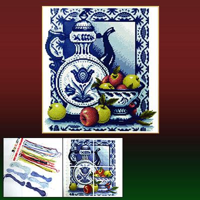 Porcelain & Fruit Pattern Counted Cross Stitch Cross-Stitch Needlework Ornament Kit
