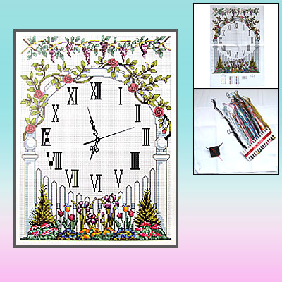 Garden Gate Clock Face Counted Cross Stitch Cross-Stitch Kit