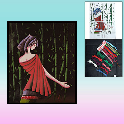 Minority Culture Lady & Bamboo Counted Cross Stitch Cross-Stitch Needlework Ornament Kit