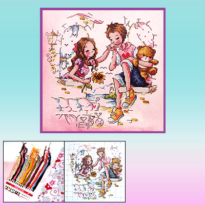 Sweet Lover Counted Cross Stitch Cushion Pillow Cover Kit