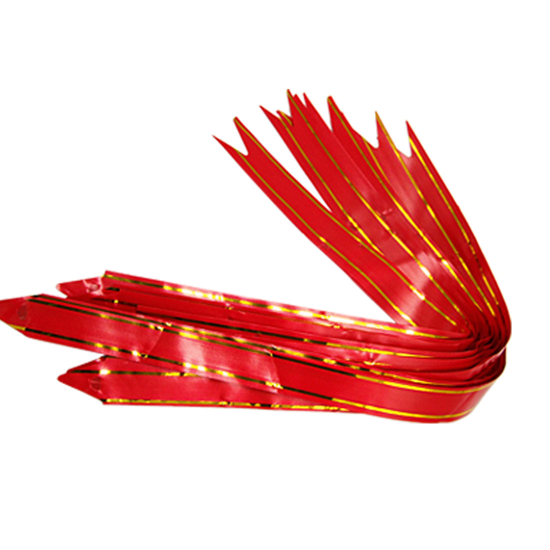 Red Poly Pull Bows Packing Ribbon with Goden Stripe