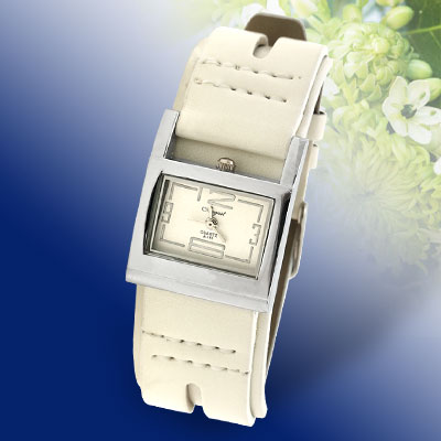 Silvery Watch Case White Leather Strap Watch for Ladies