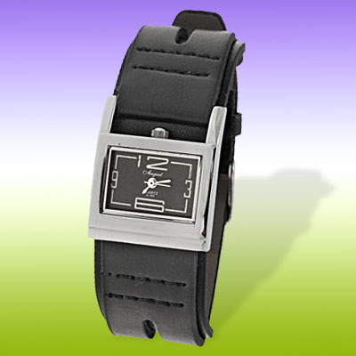 Silvery Watch Case Black Leather Strap Watch for Ladies