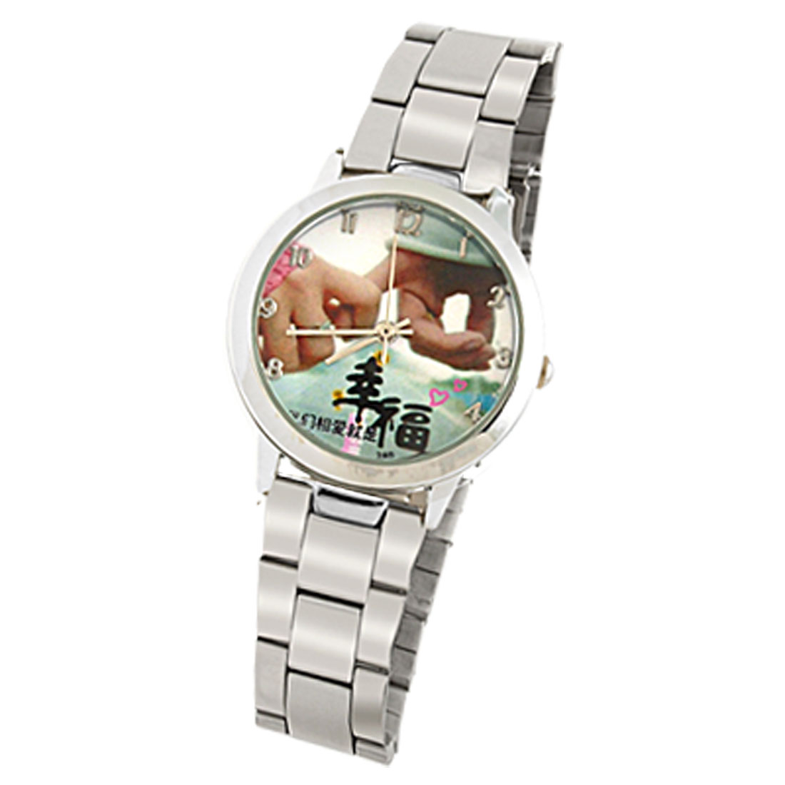 Metal Band with Hand-in-hand Pattern Ladies' Wrist Watch