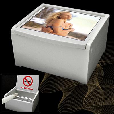 Home Table Hard Plastic Ashtray Case w/No Smoking Logo White
