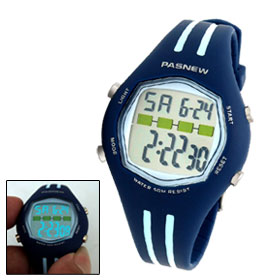 PASNEW Digital Alarm Stopwatch Round Sports Wrist Watch
