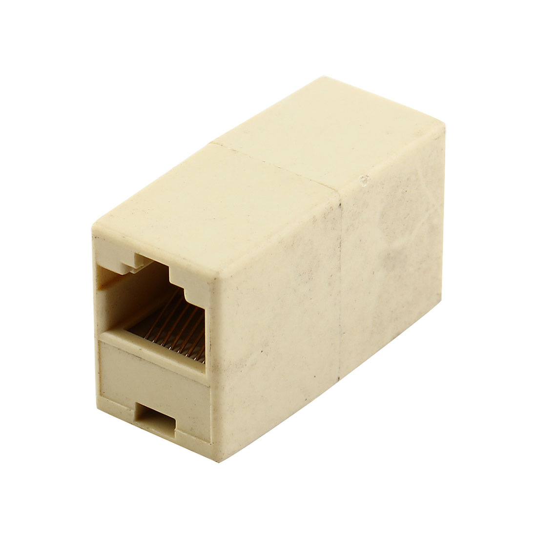 RJ45 8P8C Female Internet Network Inline Cable Coupler Connector Adapter Beige