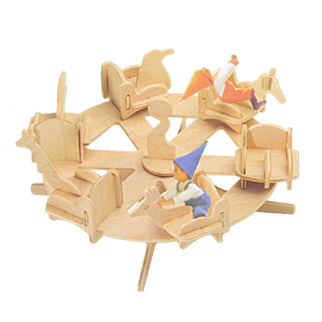 Wooden Roundabout Turntable Turnplate 3D Puzzle DIY Toy