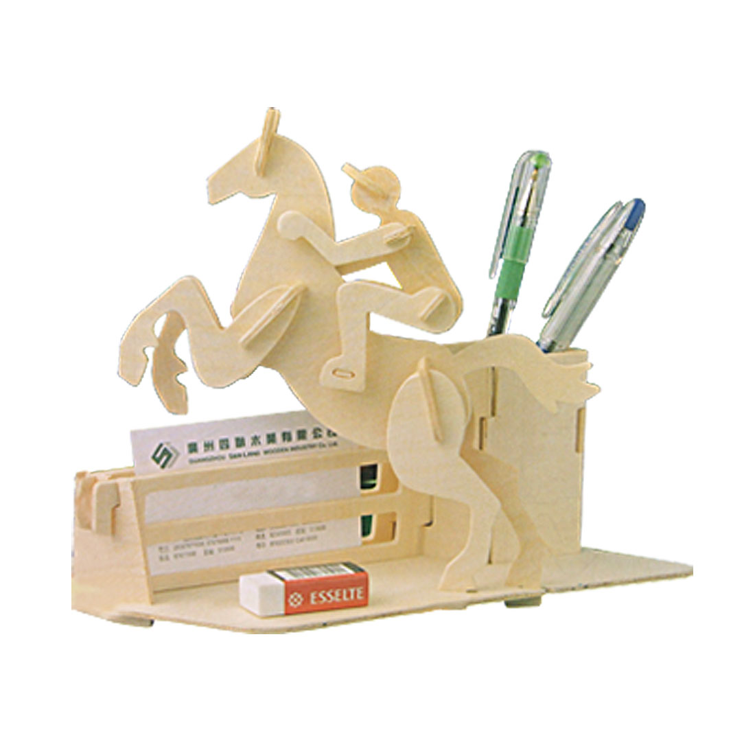 Wooden Horse-Riding Pen Container Holder DIY Puzzle Toy