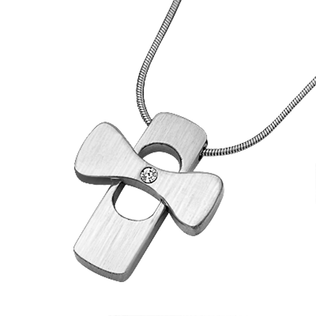 Polished Metal Sturdy Cross Pendant Stylish Necklace with Silvery Neck Chain
