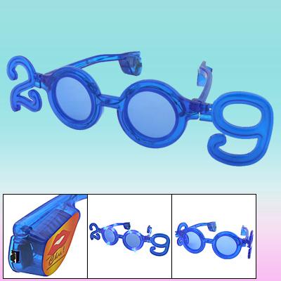 2009 Year Shaped Blue LED Flashing Party Glasses