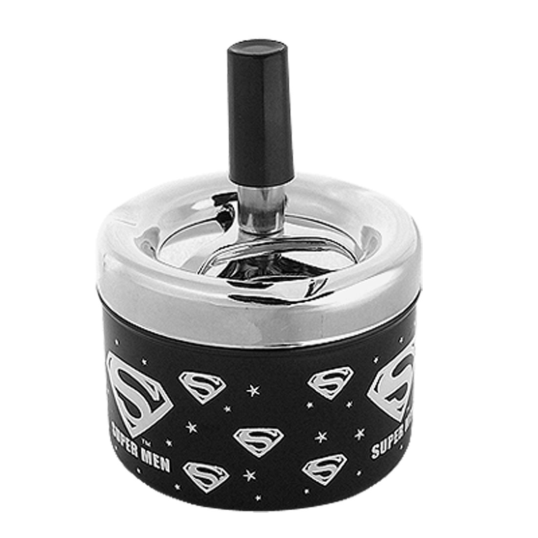Push Down Spinning Metal Cigarette Cigar Ashtray Black