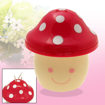 Mini Mushroom Toothpick Holder Plastic Dispenser Red