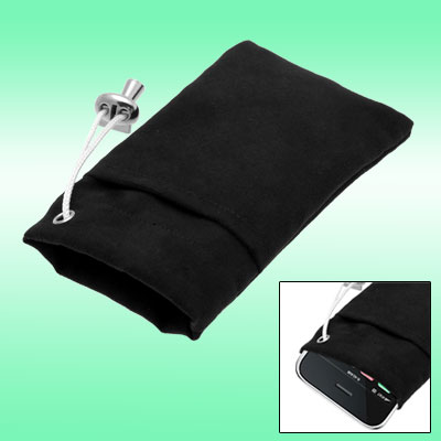 Black Flannelette CellPhone Pouch Bag for i3G / 3GS Touch