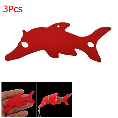 3 Pcs Dolphin Shaped Smart Wrap for MP3 Earphone Red