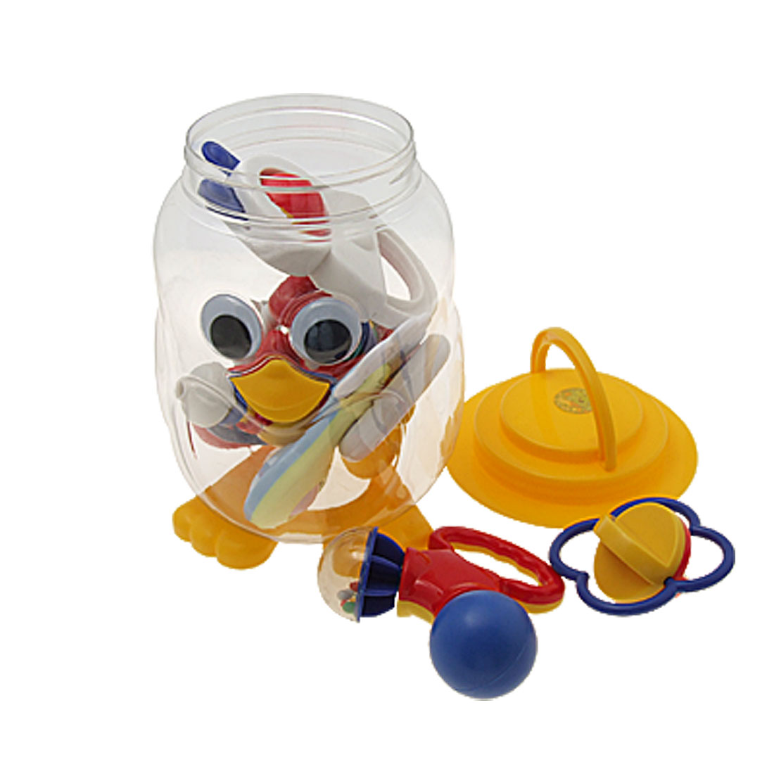 Penguin Bottle Packing with 9 Plastic Waggles Ring Rattle Toy