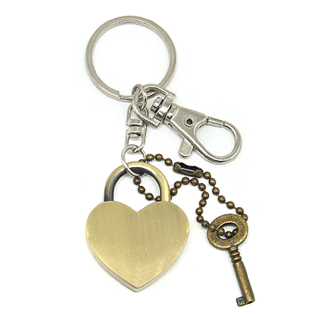 Heart Shape Lock & Key Keychain Key Ring Chain Handbag Purse Charm