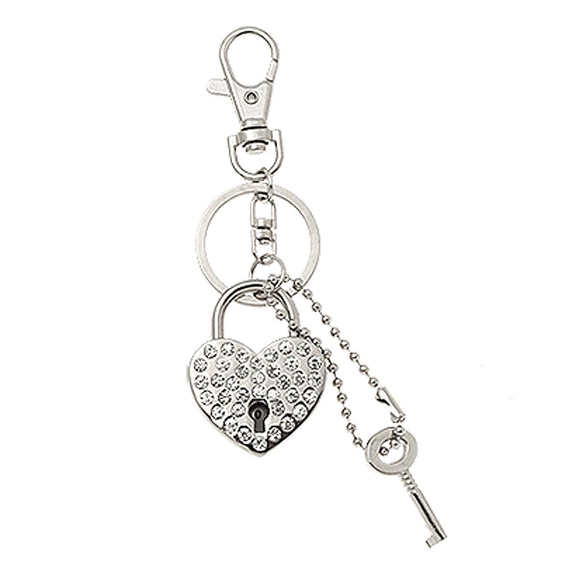 Silvery Rhinestone Heart Shape Lock & Key Keychain Keyring Handbag Purse Charm