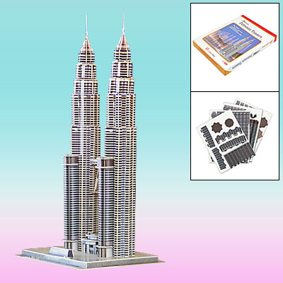 Kids DIY Collect Assemble Jigwaw 3D Puzzle Toy Petronas Towers