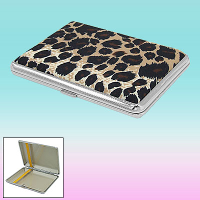 Leopard Skin Pattern Metal Cigar Tobacco Cigarette Carry Case Holder Box