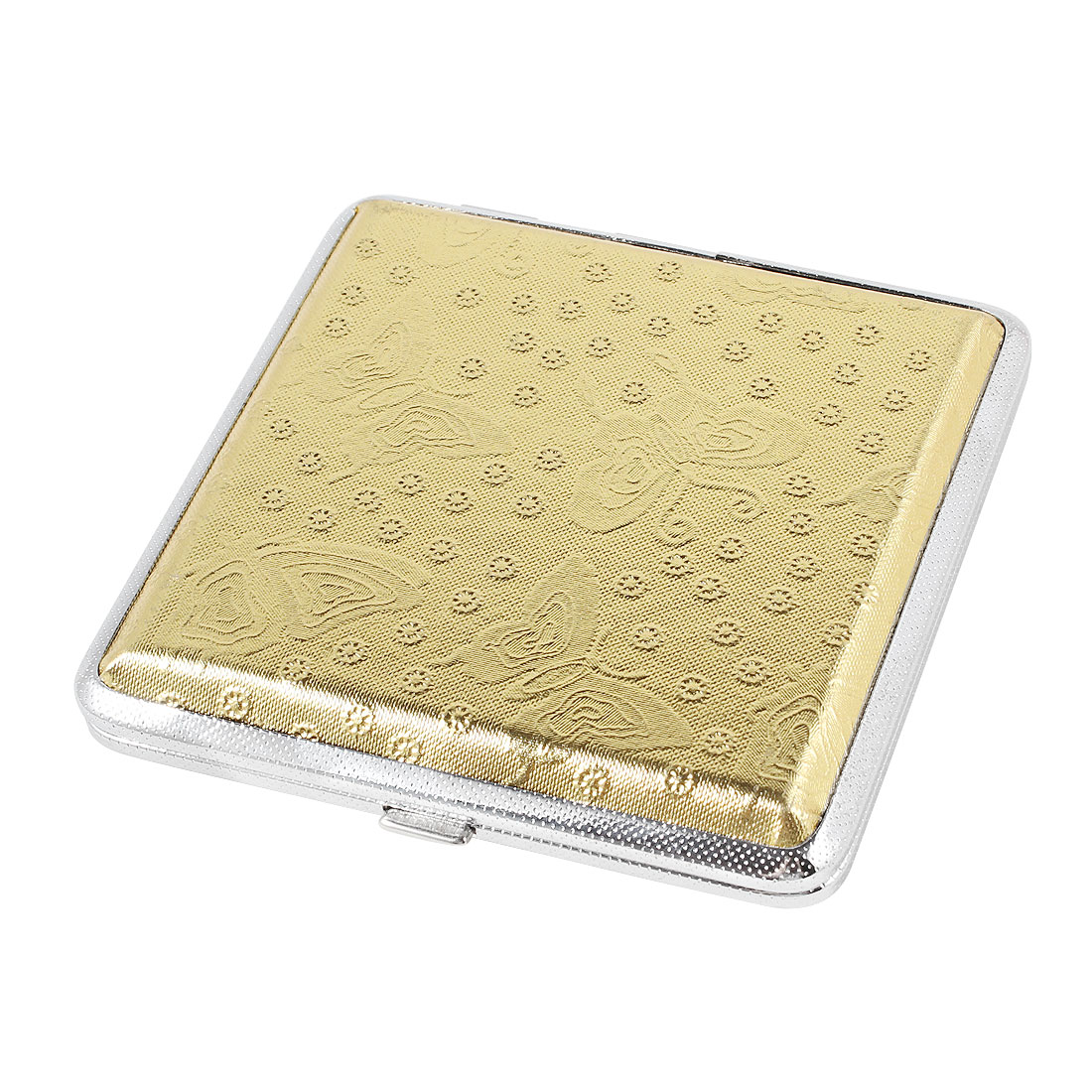 Cigarette Cigar Tobacco Carry Case Holder Box w/Two Sided Golden Butterfly Pattern Cover
