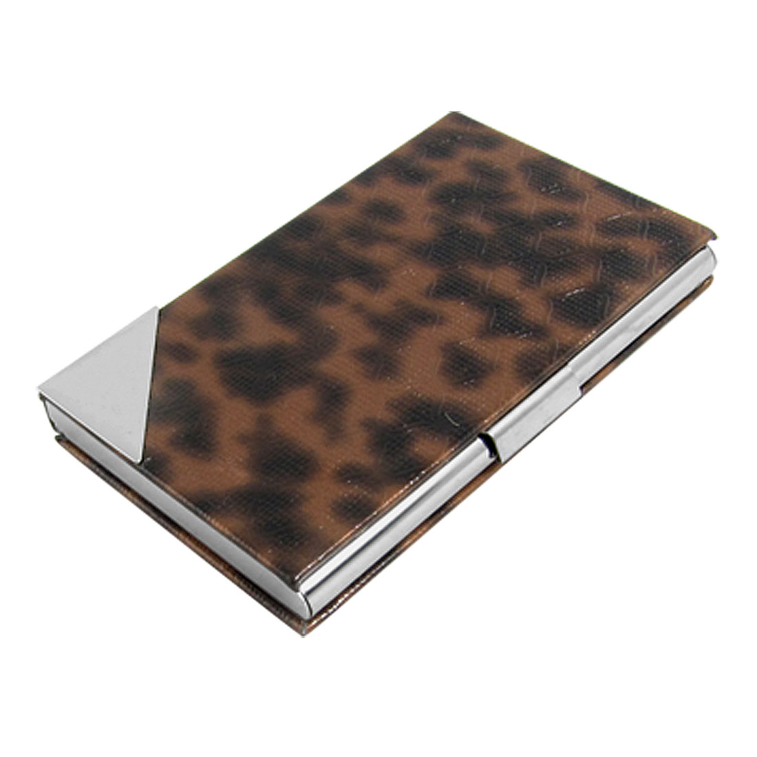 Metal Business Credit ID Card Case Holder with Leather Covers