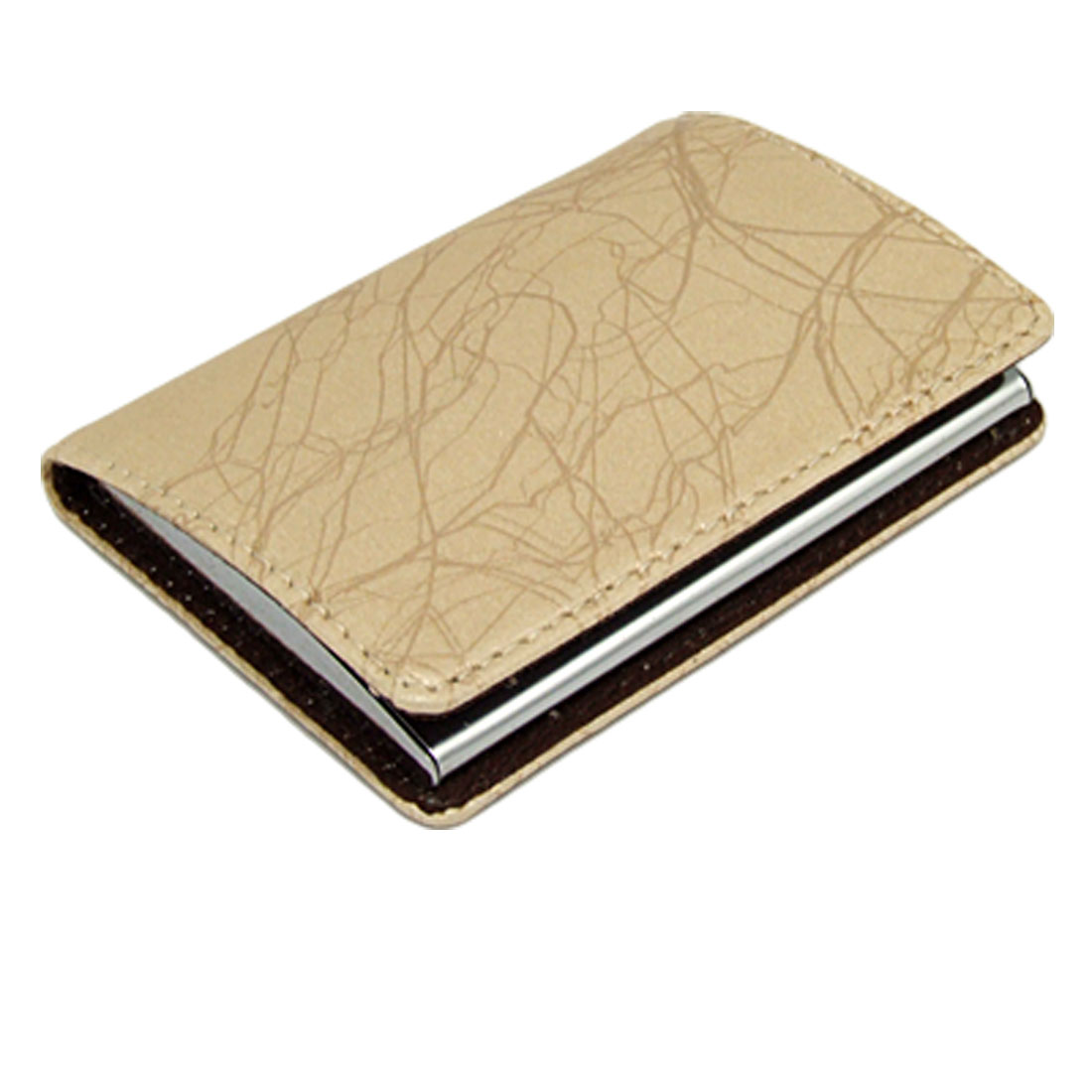 Leather Magnetic Metal Business Card Holder with Khaki Strip Pattern