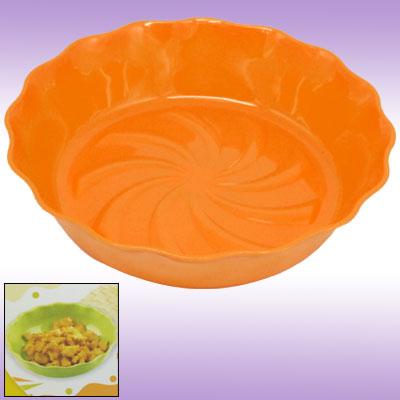 Orange Floral Rim Round Plastic Tray Plate Kitchen Ware