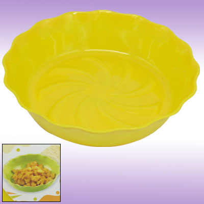 Floral Rim Plastic Plate Tray Kitchen Ware Yellow