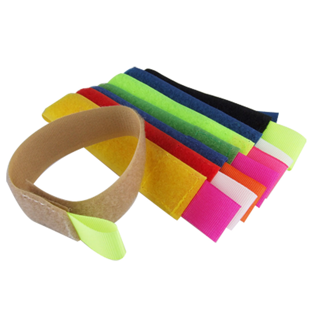8 PCS Colorful Genuine Hook and Loop Fastener Band Cable Cord Ties Strap