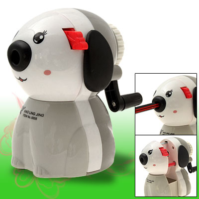 Cartoon Dog Portable Desk Top Manual Pencil Sharpener with L Shape Handle