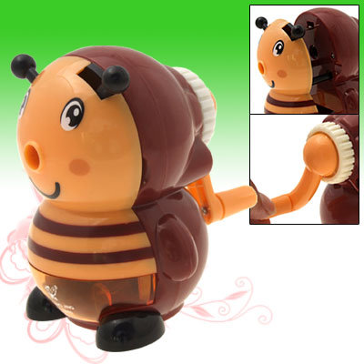 Lovely Cartoon Bee Portable Desk Top Manual Pencil Sharpener with L Shape Handle