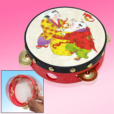 Chinese Ethnic Tambourine Beat Instrument Traditional Kids Toy