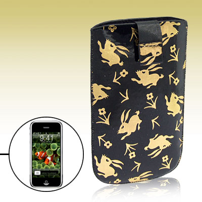 Gold-tone Rabbit Blk Faux Leather Case Pouch for Phone