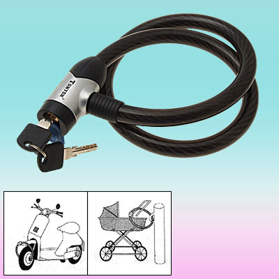 Black Vinyl-coated Coil Cable Bicycle Bike Lock and Keys (15mm Dia x 800mm)
