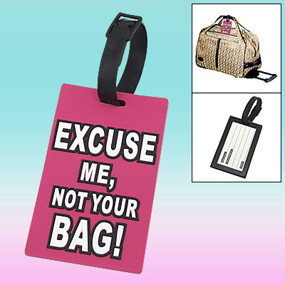 Travel Rubber English Letter Pattern Suitcase Luggage ID Tag Label Pink