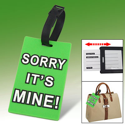 Home Travel Rubber English Letter Pattern Luggage Bag Tag Green