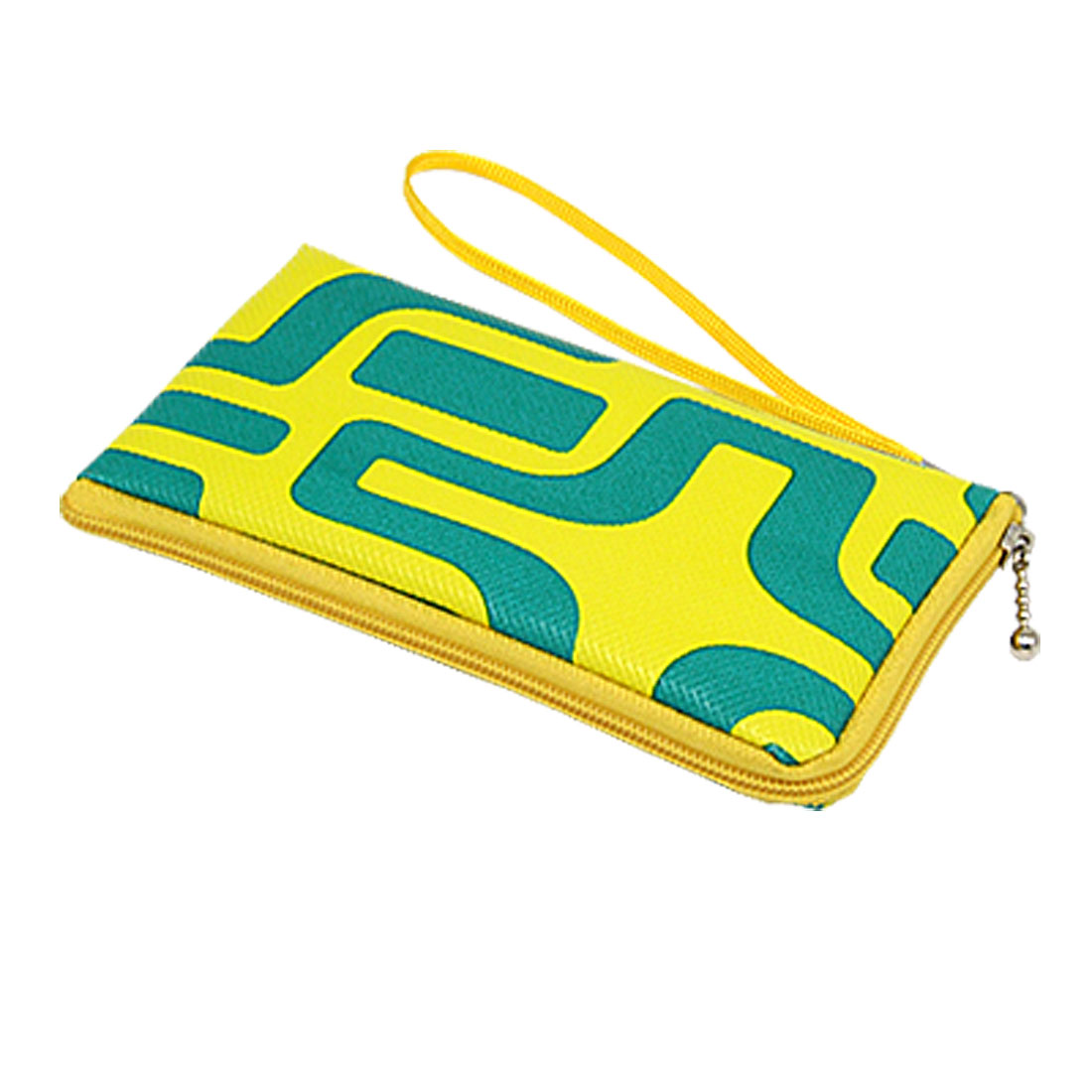 Yellow Leather Zipper String Handle Coin Mobile Holder Bag Case with Green Pattern