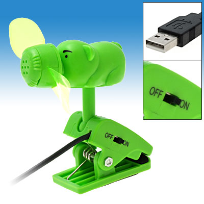 Green Pig Shaped USB Min Cooling Fan with Clip for PC