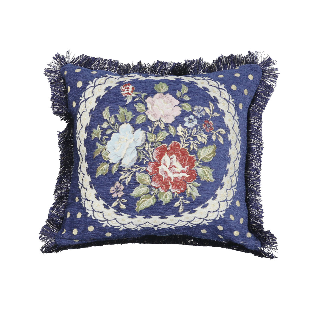 Oriental Flowers Pattern Sofa Bed Pillow Cover w/ Fringe