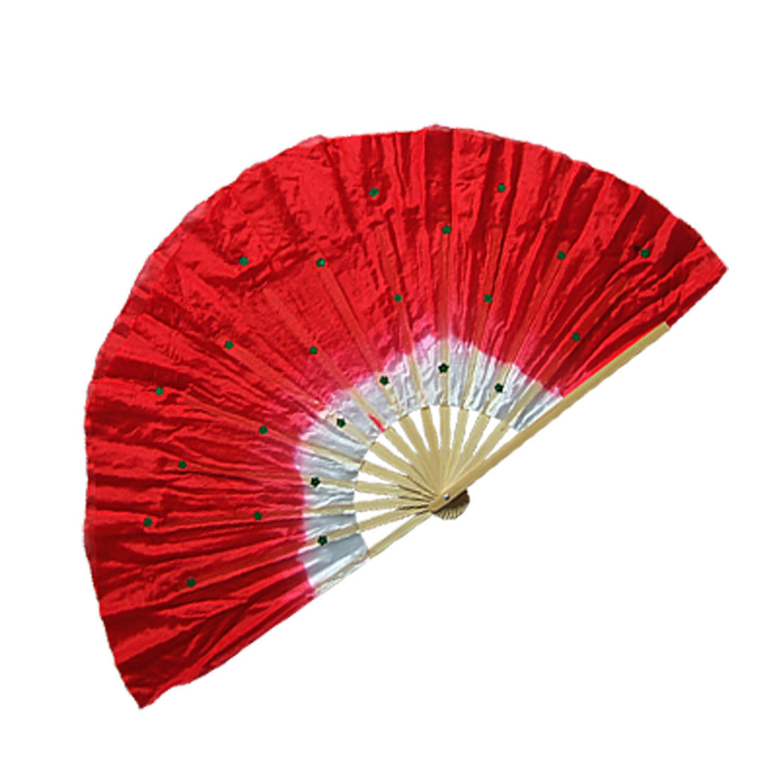 Red Nylon Bamboo Frame Folding Fan for Chinese Traditional Dance