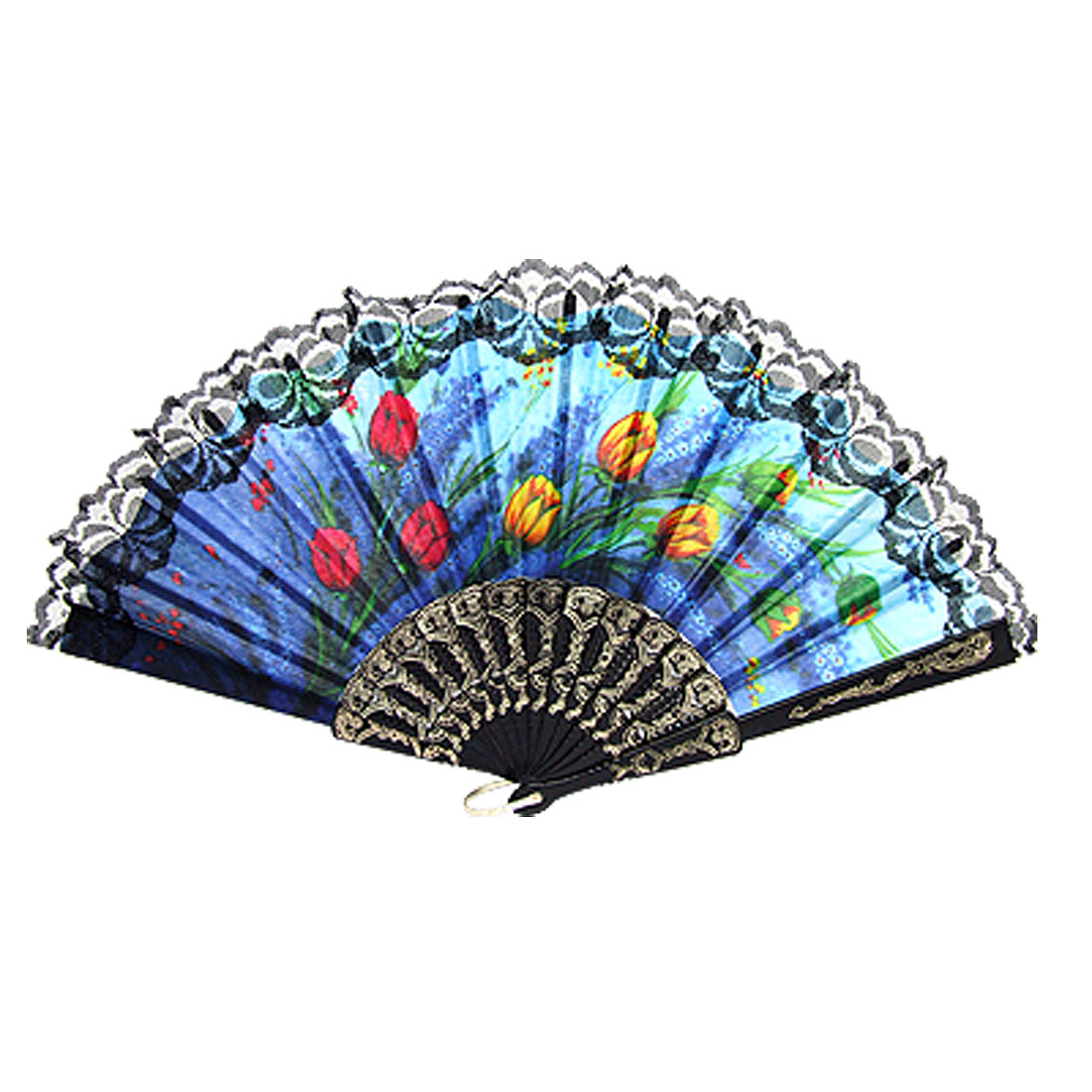 Flower Pattern Plastic Frame Hand Folding Fan