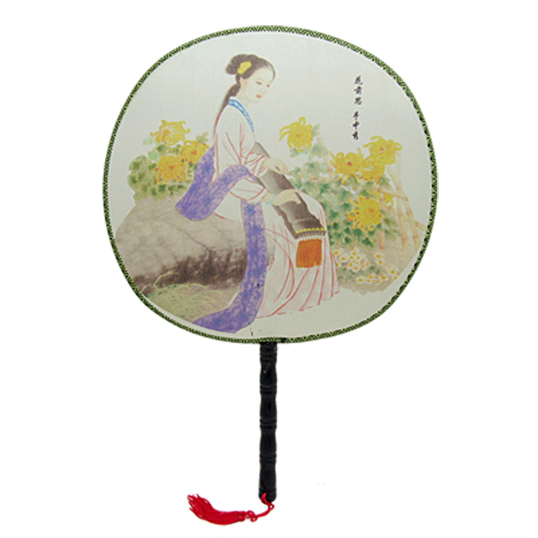 Classic Beautiful Lady Picture Chinese Round Fabric Hand Fan