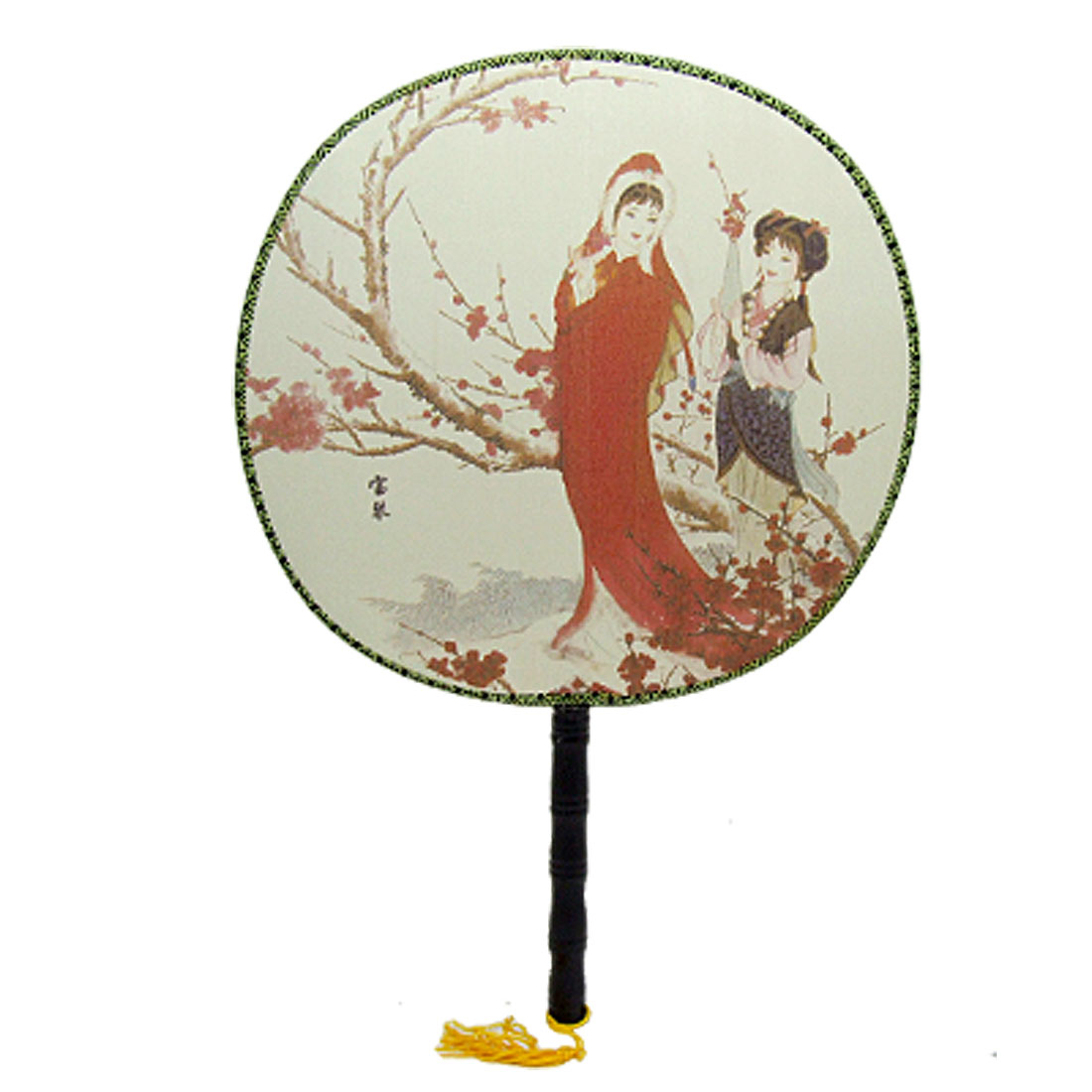 Chinese Fabric Fan with Baoqin Under the Tree Pattern
