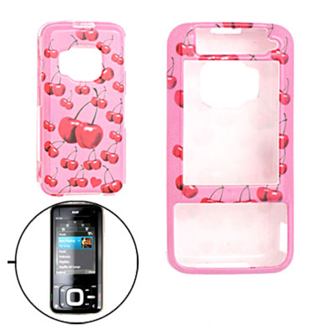 Pink Cherry Pattern Plastic Case Cover for Nokia N81