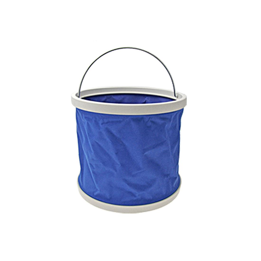 Blue Fabric Fishing Camping Bucket Folding Water Pail 9L