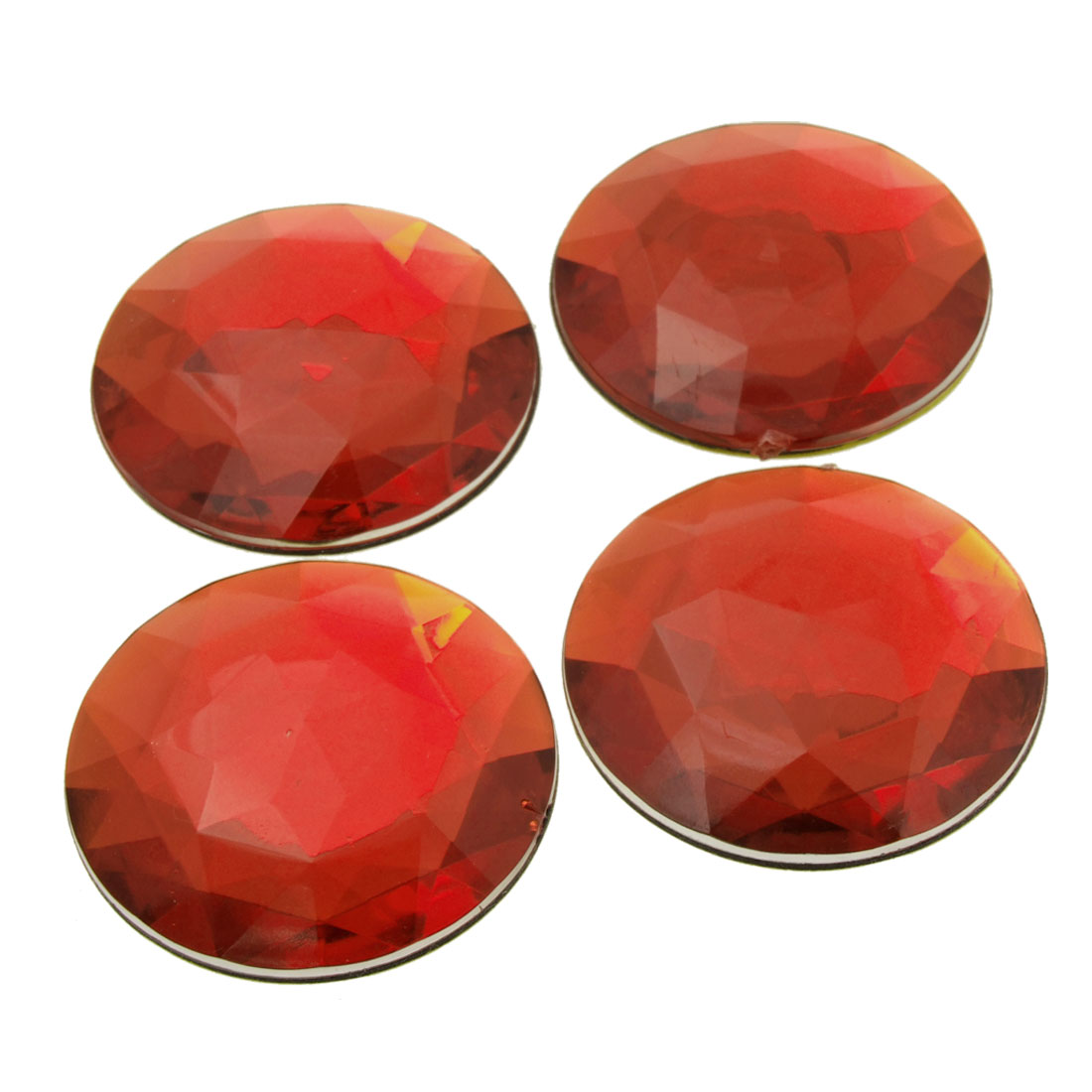 Red Wheel Center Cap Adhesive Stickers Decoration 52mm 4 Pcs
