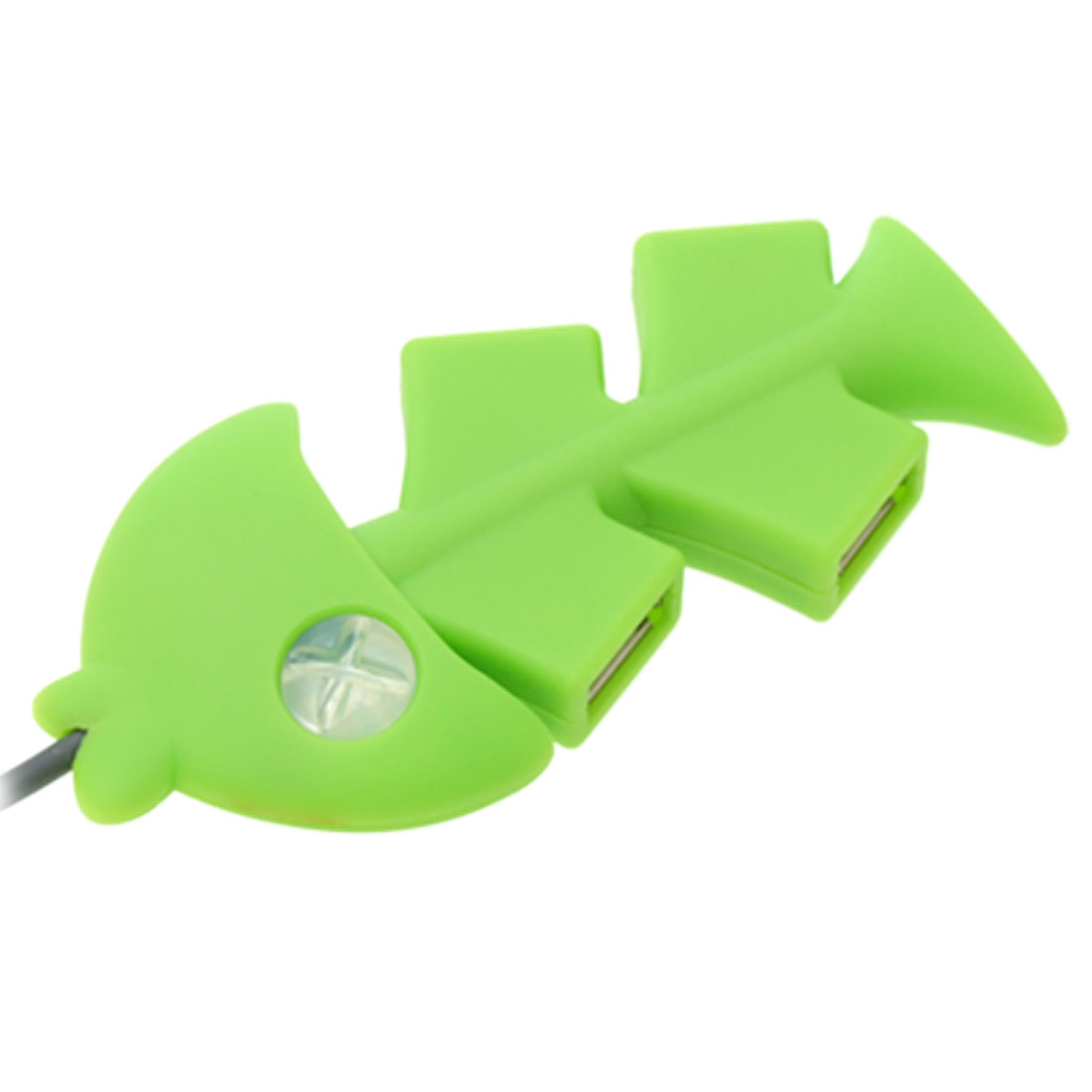 Green Fish Bone 4 Port USB 2.0 Hub for PC Computer