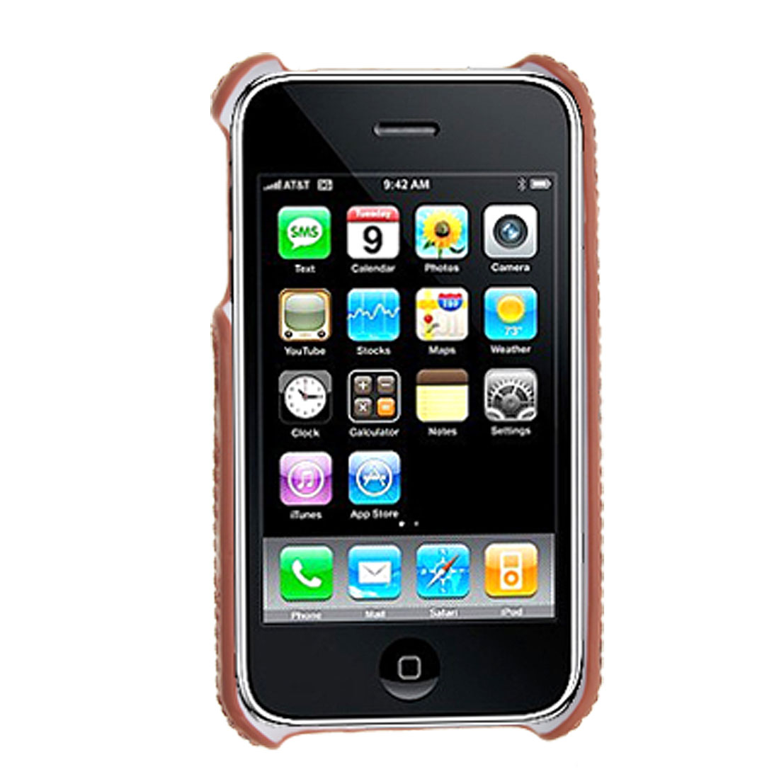 Leather Coated Grid Plastic Back Case Protector for iPhone 3G / 3GS