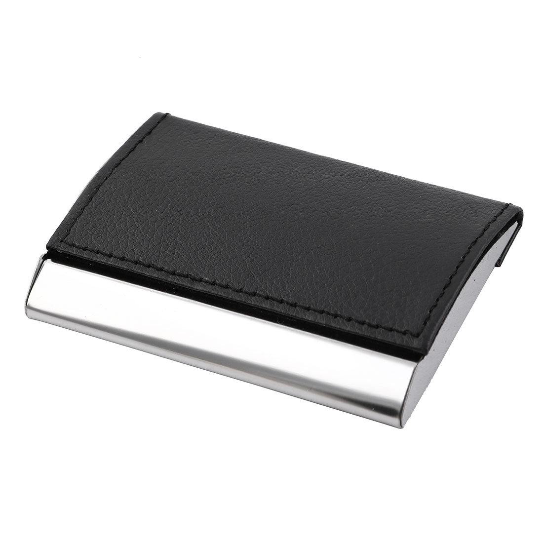 Black Leather Surface Metal Business Card Holder Case